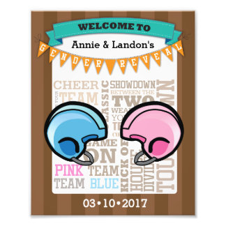 Football Gender Reveal Welcome Photo Print