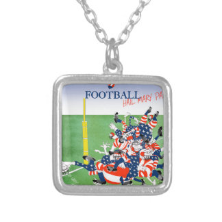 Football 'hail mary pass', tony fernandes silver plated necklace