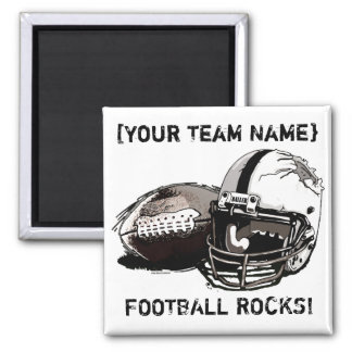 Football Helmet and Pigskin Square Magnet