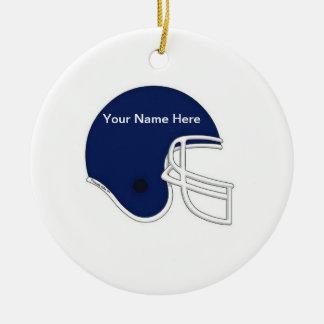 Football Helmet - Dark Blue Ceramic Ornament