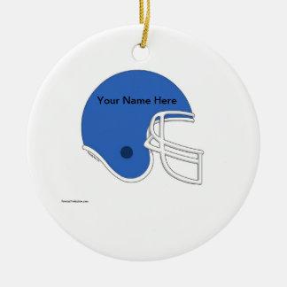 Football Helmet - Light Blue Ceramic Ornament