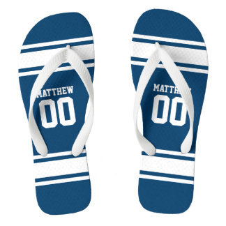 Football Jersey Blue|White Personalized Flip Flops