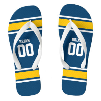 Football Jersey Blue|Yellow Personalized Flip Flops