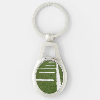 Football Lines Silver-Colored Oval Keychain