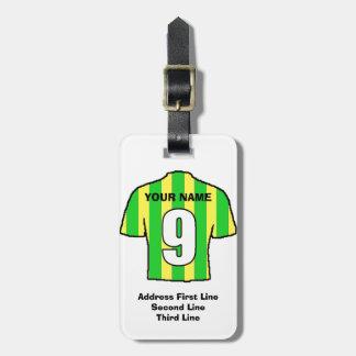 Football Luggage Tag - with Green & Yellow Shirt