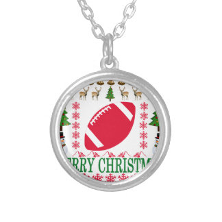FOOTBALL MERRY CHRISTMAS . SILVER PLATED NECKLACE