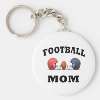 Football Mom Basic Round Button Keychain