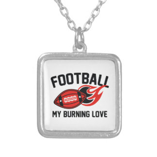 Football My Burning Love Silver Plated Necklace