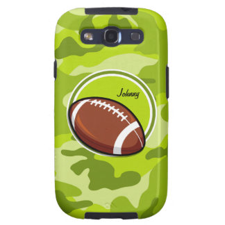 Football on bright green camo camouflage galaxy SIII cases