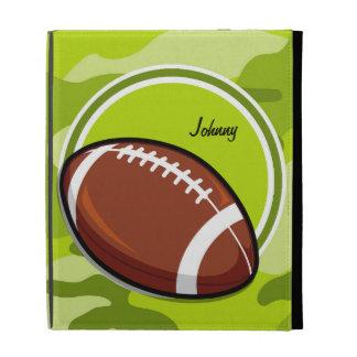 Football on bright green camo camouflage iPad folio cover