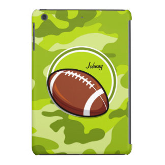 Football on bright green camo camouflage iPad mini covers