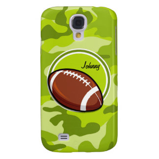 Football on bright green camo camouflage samsung galaxy s4 cases