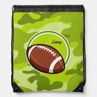 Football on bright green camo, camouflage drawstring bag