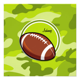 Football on bright green camo camouflage personalized invites