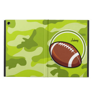 Football on bright green camo camouflage case for iPad air