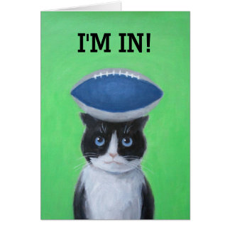 Football on Cat Greeting Card