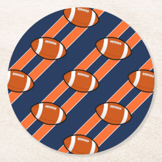 Football on Orange Blue Stripes Round Paper Coaster