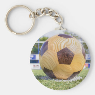 football on penalty spot with goal basic round button keychain