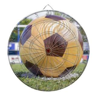 football on penalty spot with goal dart boards