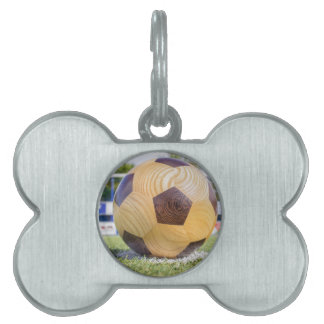 football on penalty spot with goal pet name tag