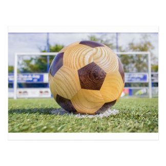 football on penalty spot with goal postcard