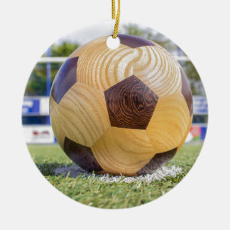 football on penalty spot with goal round ceramic ornament