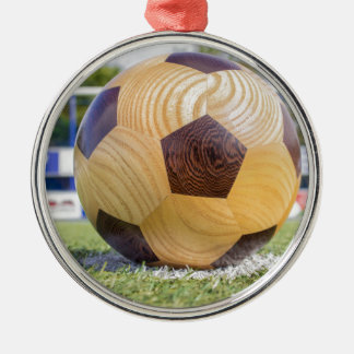 football on penalty spot with goal Silver-Colored round ornament