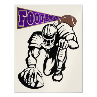 """Football Party Purple and Gold by SRF 4.25"""" X 5.5"""" Invitation Card"""