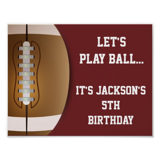 Football Party Sign with Solid Background