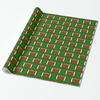 Football Pattern Design on Green Field Wrapping Paper