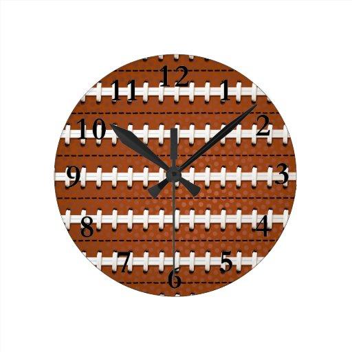 Football Design Wall Clock : Football pattern wall clock zazzle