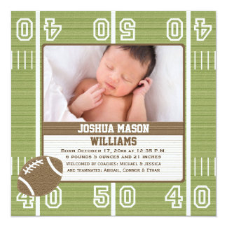 Football Photo Birth Announcement Cards