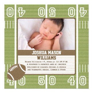 Football Photo Birth Announcement Cards