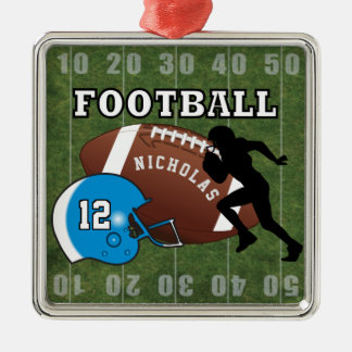 Football Player and Blue Helmet Metal Ornament