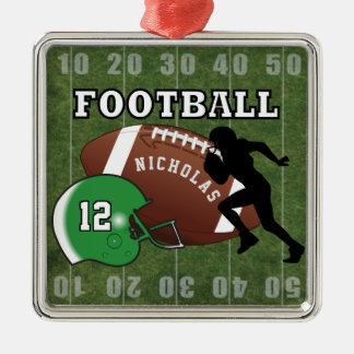 Football Player and Green Helmet Metal Ornament