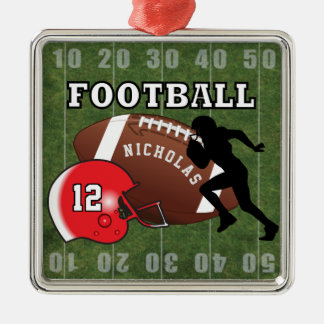 Football Player and Red Helmet Metal Ornament