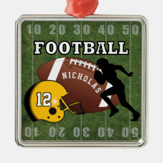 Football Player and Yellow Helmet Metal Ornament