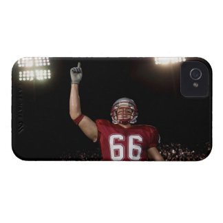 Football player holding up index finger Case-Mate iPhone 4 cases