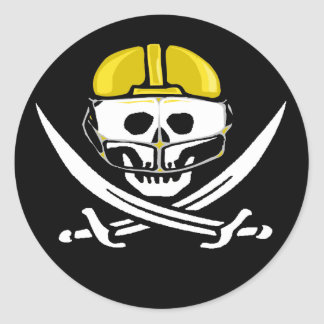 Football Player Skull and Swords Gold Classic Round Sticker