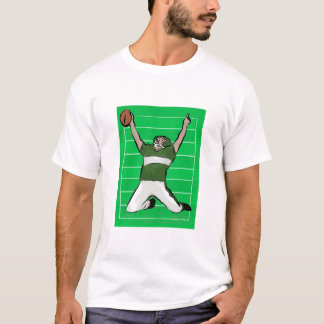 Football Player Touchdown Green and White T-Shirt