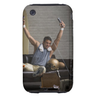 Football player watching football and cheering tough iPhone 3 case
