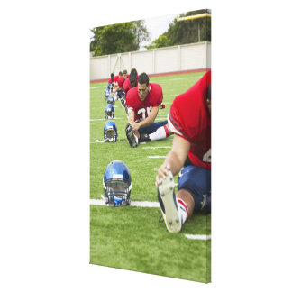 Football Players Stretching Gallery Wrapped Canvas