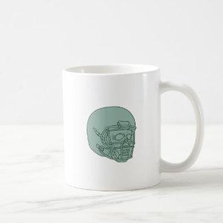 Football Quarterback Skull Drawing Coffee Mug