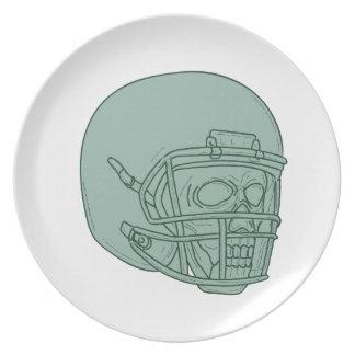 Football Quarterback Skull Drawing Plate