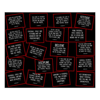 Football Quotes Collage in Red, Black and White Poster