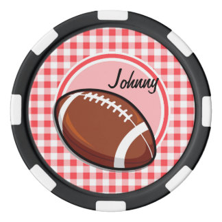 Football; Red and White Gingham Poker Chips Set