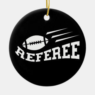 Football referee white on black with bouncing ball ceramic ornament