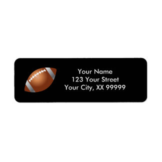 Football Return Address Labels in Black
