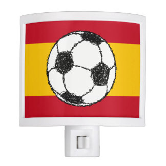 Football Sketch with Flag of Spain Night Light