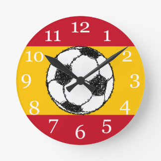 Football Sketch with Flag of Spain Wallclocks